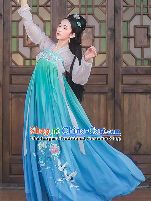 Chinese Ancient Palace Embroidered Hanfu Dress Traditional Tang Dynasty Princess Historical Costume for Women