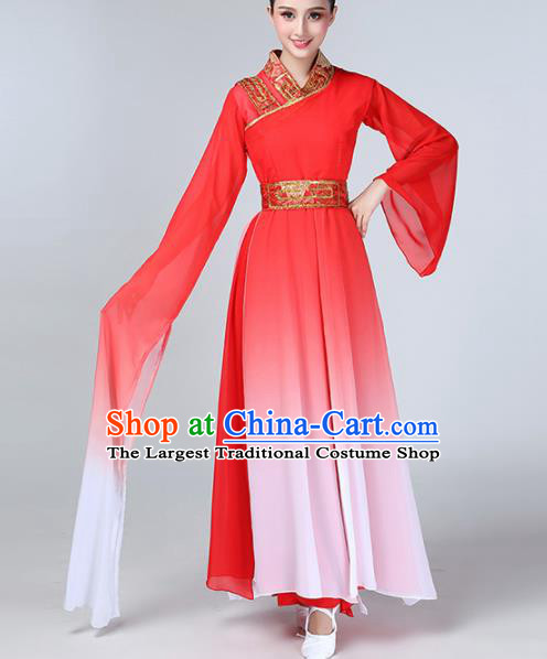 Chinese Traditional Stage Performance Costume Classical Dance Red Water Sleeve Dress for Women