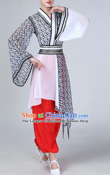 Chinese Traditional Stage Performance Fan Dance Costume Classical Dance Dress for Women