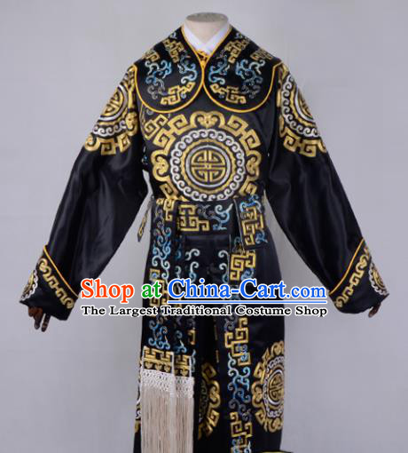 Professional Chinese Beijing Opera Takefu Costume Ancient Swordsmen Black Clothing for Adults