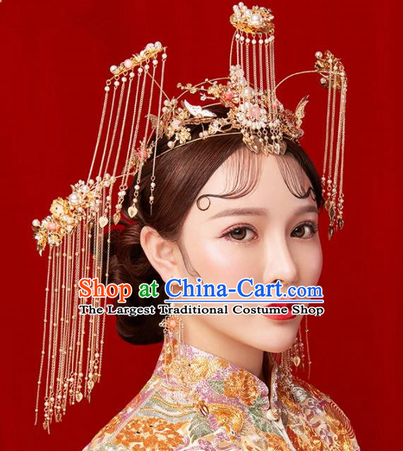 Chinese Traditional Palace Bride Hairpins Ancient Wedding Tassel Phoenix Coronet Hair Accessories for Women
