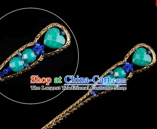 Chinese Beijing Opera Diva Hair Accessories Ancient Peri Green Hairpins for Women