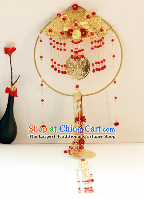 Chinese Handmade Classical Red Tassel Palace Fans Wedding Bride Accessories Round Fan for Women