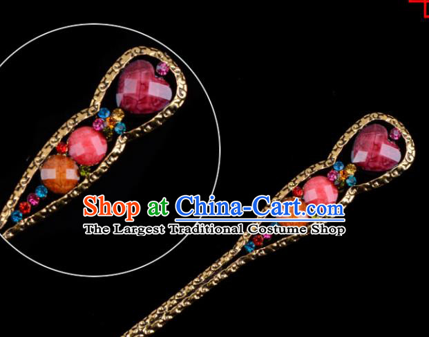 Chinese Beijing Opera Diva Hair Accessories Ancient Peri Purple Hairpins for Women