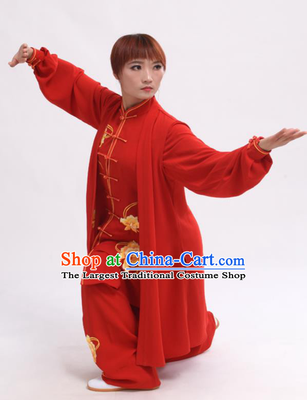 Chinese Traditional Tai Chi Red Costume Martial Arts Tai Ji Competition Clothing for Women