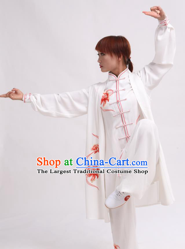 Chinese Traditional Tai Chi Printing Red Peony Costume Martial Arts Tai Ji Competition Clothing for Women