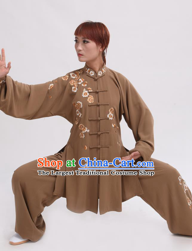 Chinese Traditional Tai Chi Light Brown Costume Martial Arts Tai Ji Competition Clothing for Women