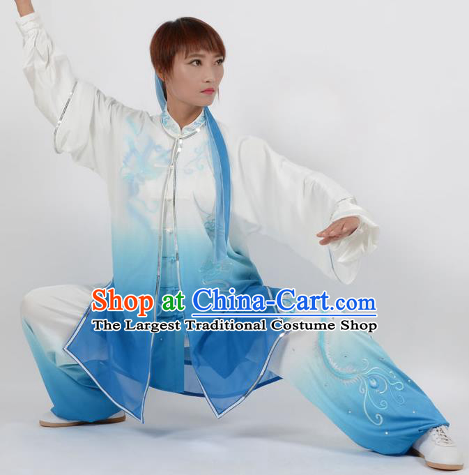 Chinese Traditional Kung Fu Embroidered Phoenix Blue Costume Martial Arts Tai Ji Competition Clothing for Women