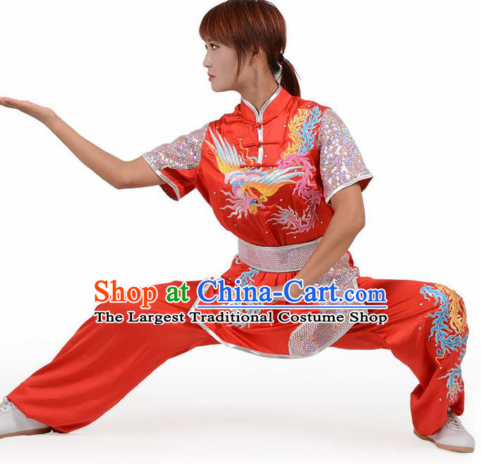 Chinese Traditional Kung Fu Embroidered Phoenix Red Costume Martial Arts Competition Clothing for Women