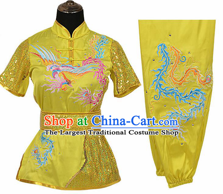 Chinese Traditional Kung Fu Embroidered Phoenix Yellow Costume Martial Arts Competition Clothing for Women