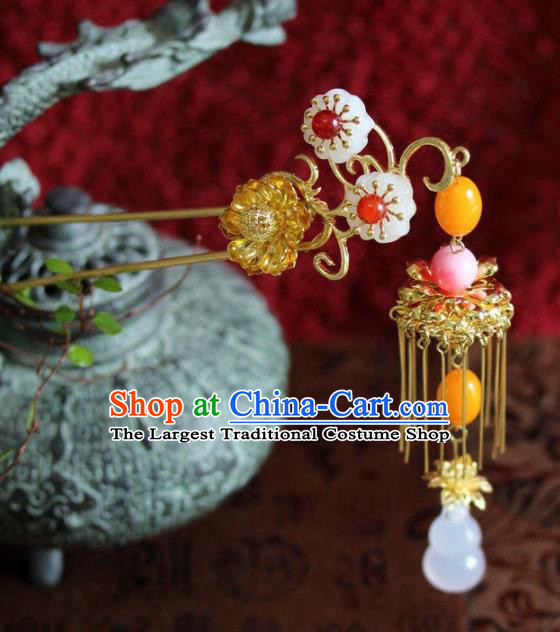 Top Grade Chinese Ancient Bride Wedding Tassel Golden Flowers Hairpins Traditional Hair Accessories Headdress for Women