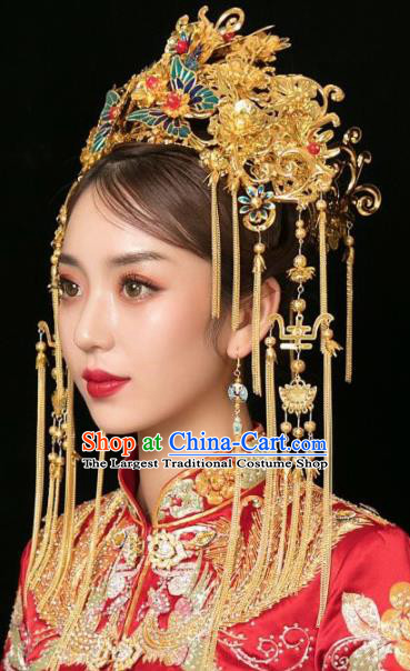 Handmade Chinese Ancient Bride Phoenix Coronet Hairpins Traditional Hair Accessories Headdress for Women