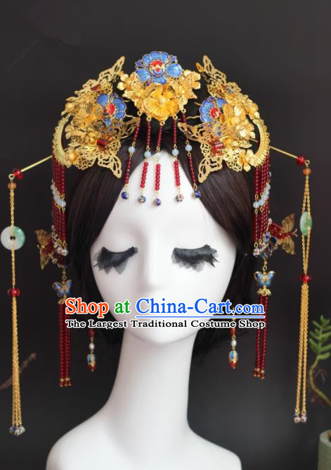 Handmade Chinese Ancient Princess Hairpins Blueing Phoenix Coronet Traditional Hair Accessories Headdress for Women