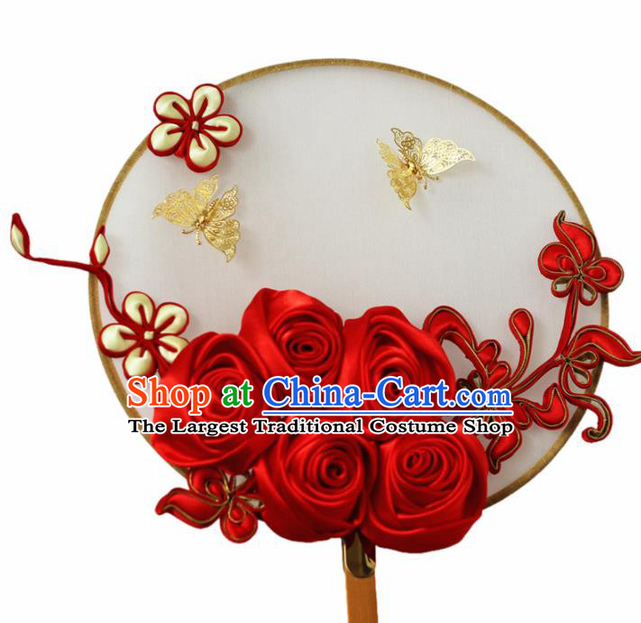 Chinese Handmade Bride Classical Red Roses Palace Fans Wedding Accessories Round Fan for Women