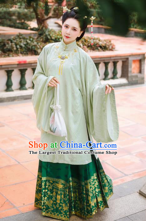 Chinese Traditional Ming Dynasty Dowager Historical Costume Ancient Palace Embroidered Hanfu Dress for Women