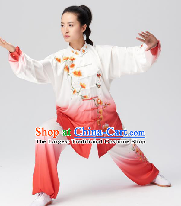Chinese Traditional Tai Chi Group Embroidered Mangnolia Costume Martial Arts Kung Fu Competition Clothing for Women
