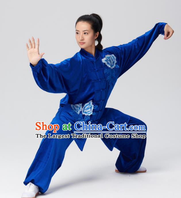 Chinese Traditional Tai Chi Group Royalblue Velvet Costume Martial Arts Kung Fu Competition Clothing for Women