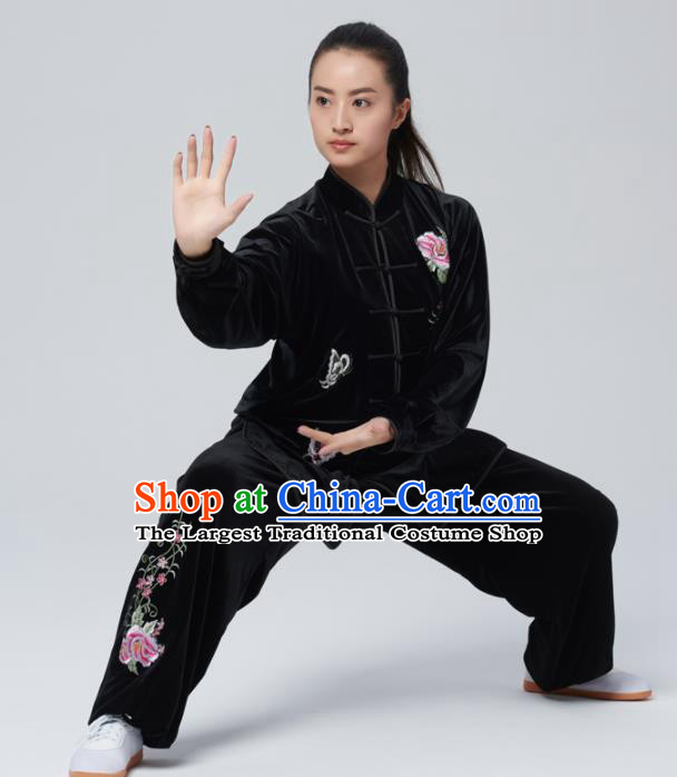 Chinese Traditional Tai Chi Group Black Velvet Costume Martial Arts Kung Fu Competition Embroidered Peony Clothing for Women