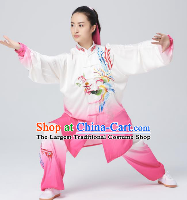 Chinese Traditional Tai Chi Group Rosy Costume Martial Arts Kung Fu Competition Embroidered Phoenix Clothing for Women