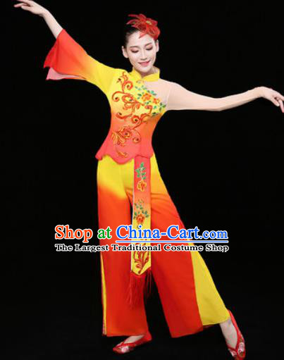 Chinese Traditional Stage Performance Fan Dance Red Clothing Folk Dance Group Yangko Dance Costume for Women