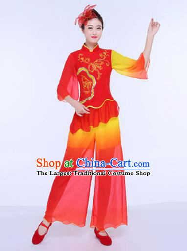 Chinese Traditional Folk Dance Group Dance Red Clothing Yangko Fan Dance Costume for Women