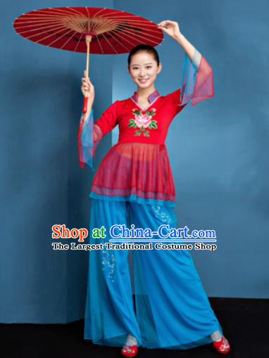 Traditional Chinese Folk Dance Fan Dance Veil Clothing Yangko Dance Costume for Women