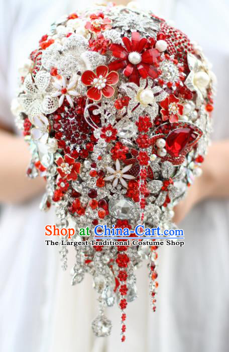 Top Grade Wedding Bridal Bouquet Hand Red Crystal Flowers Ball Tied Bouquet Flowers for Women