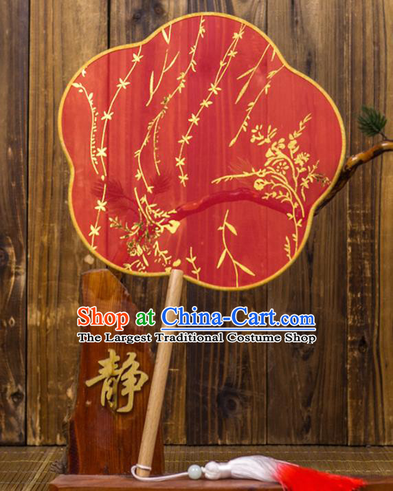 Chinese Traditional Wedding Red Plum Blossom Fans Classical Bride Palace Fan for Women