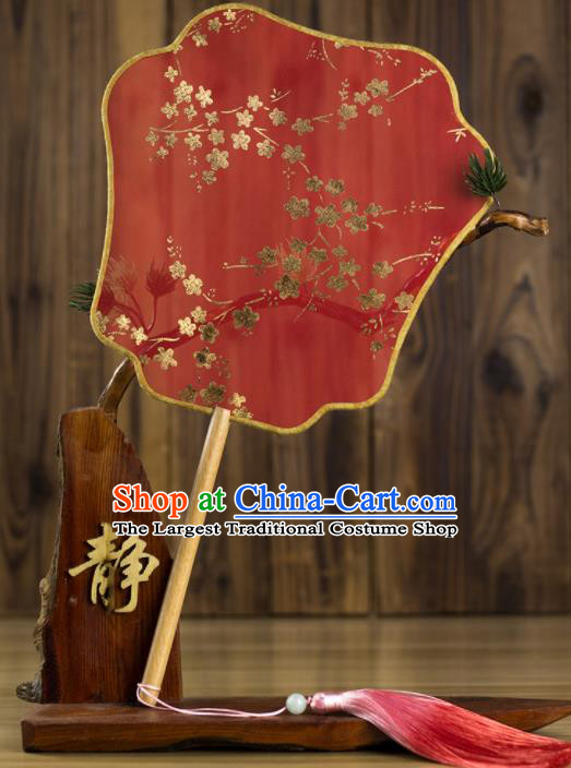 Chinese Traditional Wedding Red Palm Leaf Fans Classical Bride Palace Fan for Women
