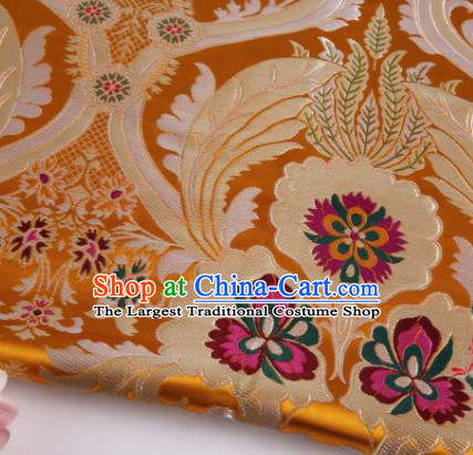 Asian Chinese Traditional Pattern Golden Nanjing Brocade Fabric Tang Suit Silk Material