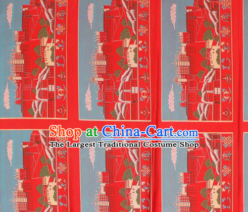 Asian Chinese Classical Religion Design Pattern Red Brocade Traditional Tibetan Robe Satin Fabric Silk Material