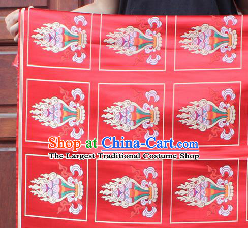 Asian Chinese Classical Design Pattern Red Nanjing Brocade Traditional Tibetan Robe Satin Religion Fabric Silk Material