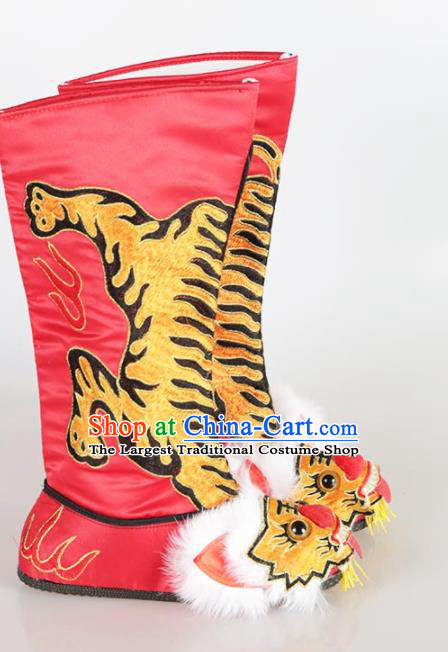 Traditional Chinese Beijing Opera Takefu Embroidered Red Boots Ancient Swordsman Shoes for Men
