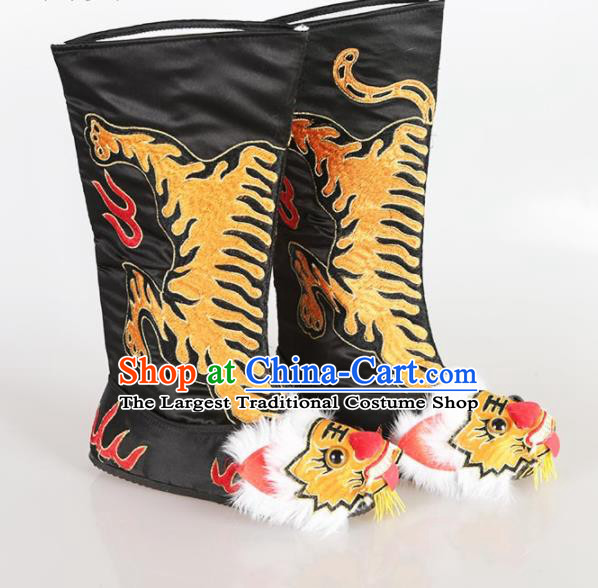 Traditional Chinese Beijing Opera Takefu Embroidered Black Boots Ancient Swordsman Shoes for Men