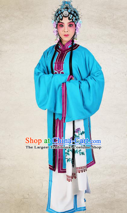 Chinese Traditional Beijing Opera Diva Blue Dress Ancient Young Lady Costume for Women