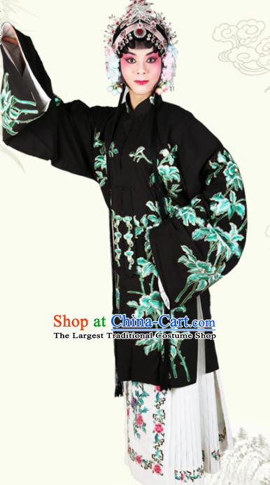 Chinese Traditional Beijing Opera Diva Black Dress Ancient Young Lady Costume for Women