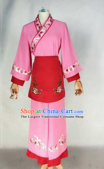 Chinese Traditional Beijing Opera Young Lady Embroidered Dress Ancient Maidservants Pink Costume for Women