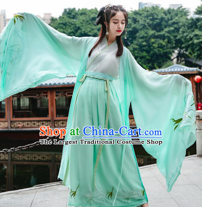 Chinese Traditional Jin Dynasty Swordswomen Historical Costume Ancient Female Knight Green Hanfu Dress for Women