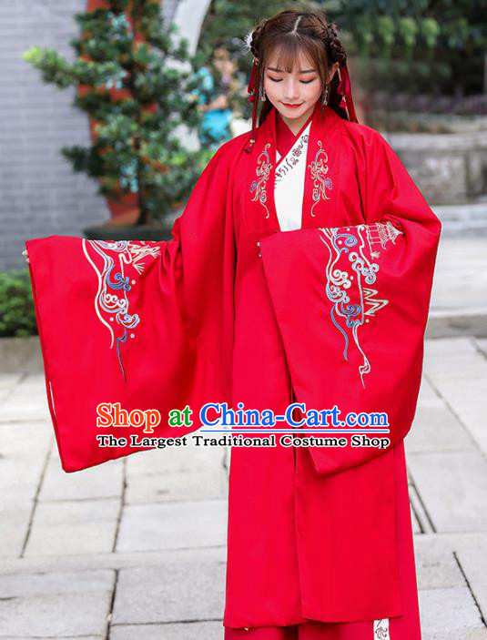 Traditional Chinese Jin Dynasty Princess Historical Costume Ancient Peri Red Hanfu Dress for Women