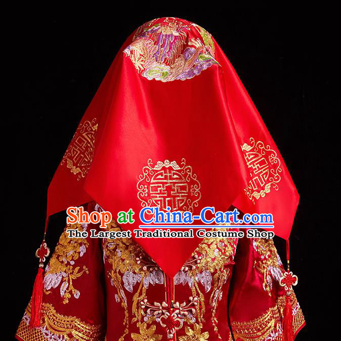 Chinese Ancient Wedding Headdress Curtain Traditional Handmade Embroidered Dragon Phoenix Red Cover for Women