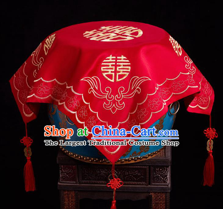 Chinese Ancient Wedding Headdress Bride Embroidered Red Curtain Traditional Handmade Red Veil for Women