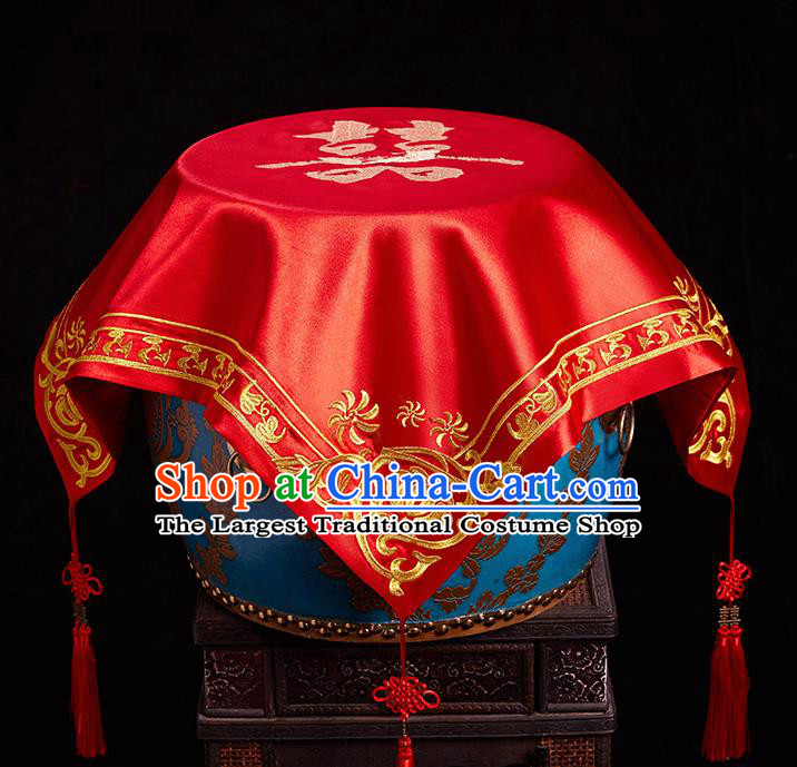 Chinese Ancient Wedding Headdress Bride Embroidered Curtain Traditional Handmade Red Veil for Women