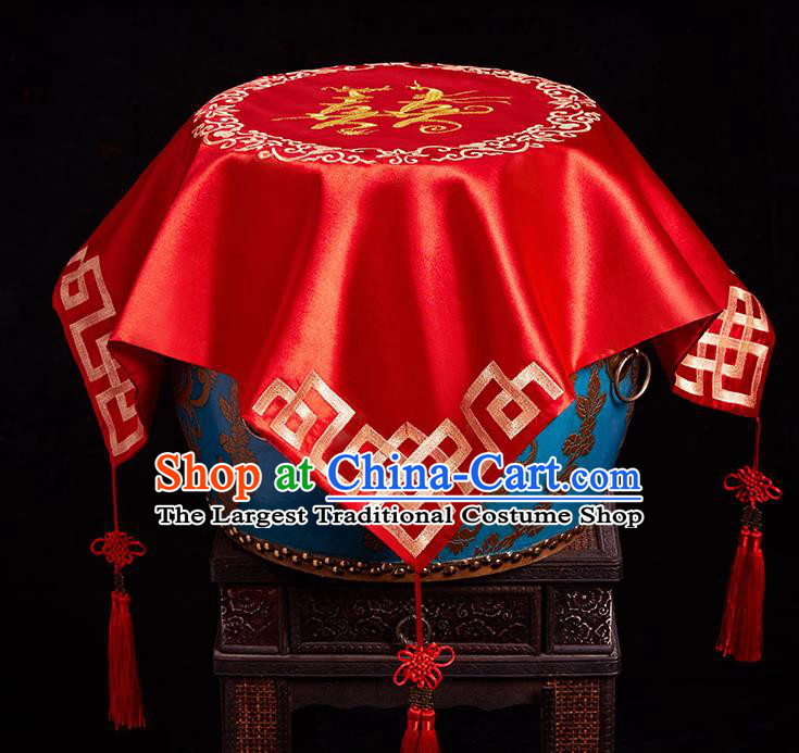 Chinese Ancient Wedding Headdress Embroidered Curtain Traditional Bride Handmade Red Veil for Women