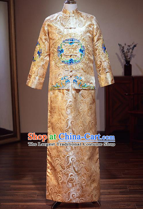 Chinese Traditional Wedding Costume Ancient Bridegroom Embroidered Golden Tang Suit Clothing for Men