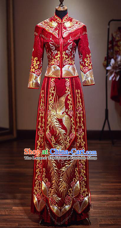 Chinese Traditional Wedding Red Xiuhe Suit Ancient Bride Embroidered Dress for Women