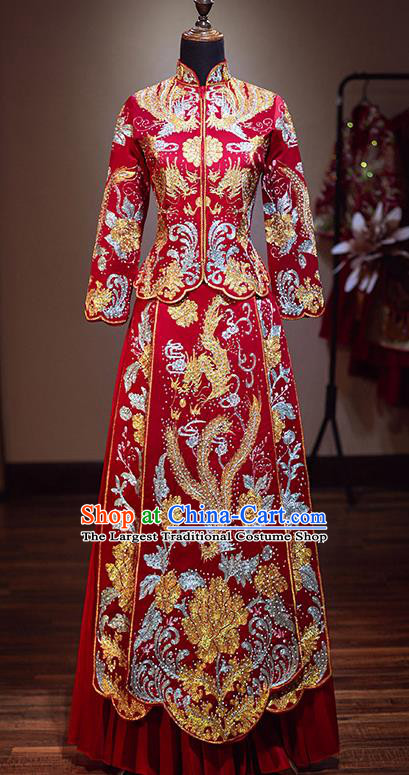 Chinese Traditional Bride Red Xiuhe Suit Ancient Wedding Embroidered Phoenix Dress for Women