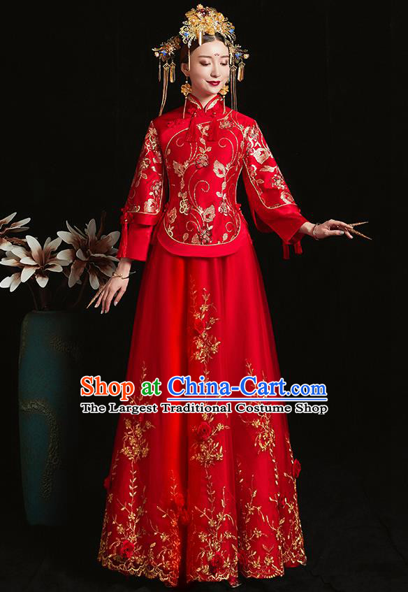 Chinese Traditional Bride Costume Embroidered Phoenix Xiuhe Suit Ancient Wedding Red Veil Dress for Women