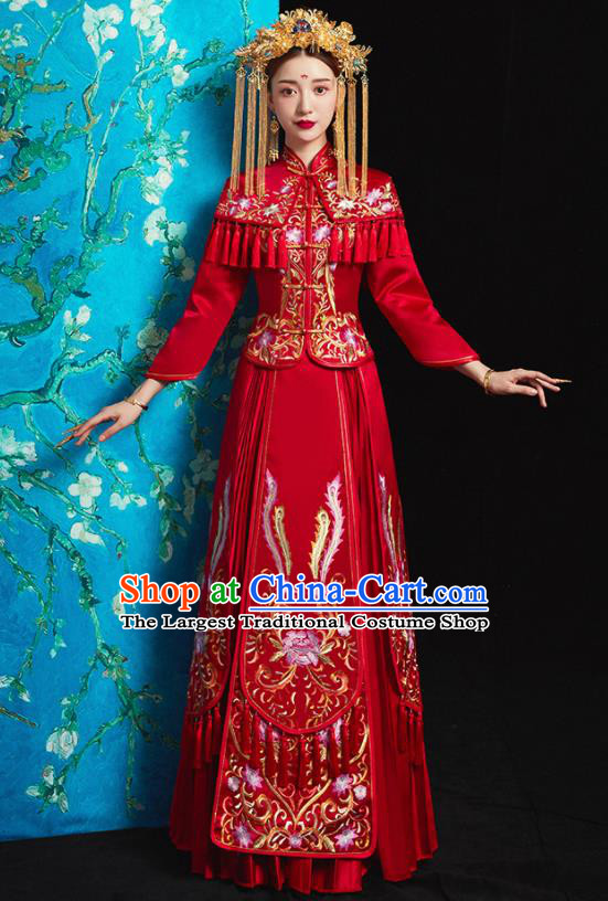 Chinese Traditional Bride Costume Embroidered Peony Xiuhe Suit Ancient Wedding Red Dress for Women