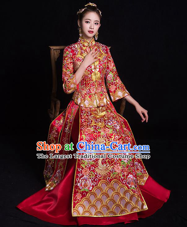 Chinese Traditional Bride Costume Embroidered Phoenix Peony Xiuhe Suit Ancient Wedding Dress for Women