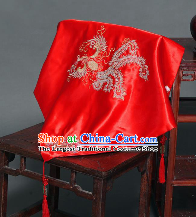 Chinese Ancient Wedding Embroidered Phoenix Curtain Traditional Bride Headdress Red Veil for Women